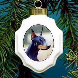 Doberman Pinscher Christmas Ornament Porcelain