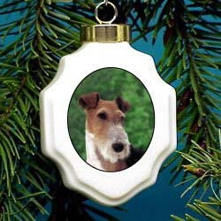 Fox Terrier Wire Christmas Ornament Porcelain