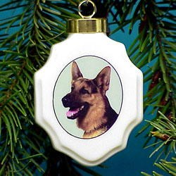 German Shepherd Christmas Ornament Porcelain