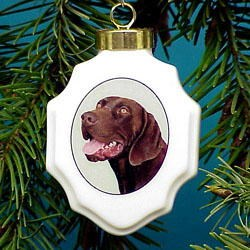German Shorthair Pointer Christmas Ornament Porcelain