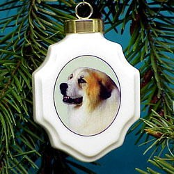 Great Pyrenees Christmas Ornament Porcelain