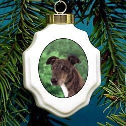 Greyhound Christmas Ornament Porcelain
