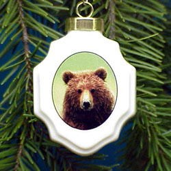 Grizzly Bear Christmas Ornament Porcelain