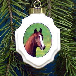 Horse Christmas Ornament Porcelain