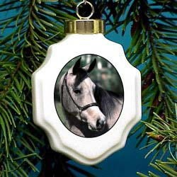 Horse Gray Christmas Ornament Porcelain