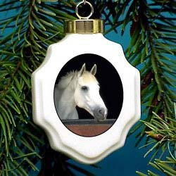 Horse White Christmas Ornament Porcelain