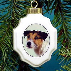 Jack Russell Terrier Christmas Ornament Porcelain