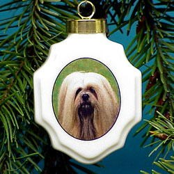 Lhasa Apso Christmas Ornament Porcelain