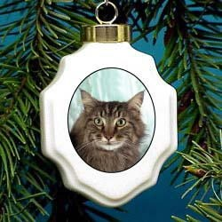 Maine Coon Christmas Ornament Porcelain