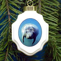 Manatee Christmas Ornament Porcelain