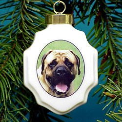 Mastiff Christmas Ornament Porcelain