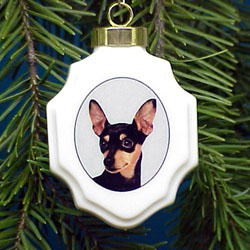 Miniature Pinscher Christmas Ornament Porcelain