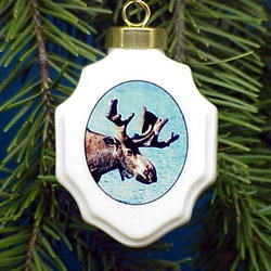 Moose Christmas Ornament Porcelain