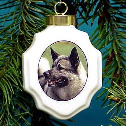Norwegian Elkhound Christmas Ornament Porcelain