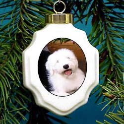 Old English Sheepdog Christmas Ornament Porcelain