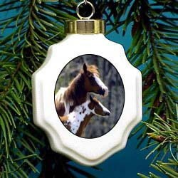 Paint Horse Christmas Ornament Porcelain