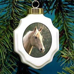 Palomino Horse Christmas Ornament Porcelain