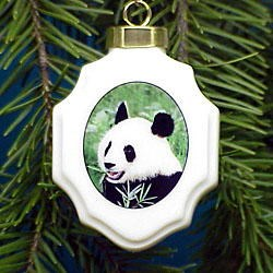 Panda Bear Christmas Ornament Porcelain