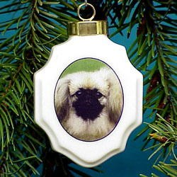 Pekingese Christmas Ornament Porcelain