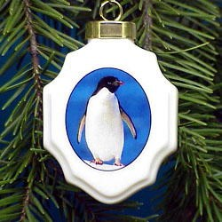 Penguin Christmas Ornament Porcelain