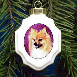 Pomeranian Christmas Ornament Porcelain