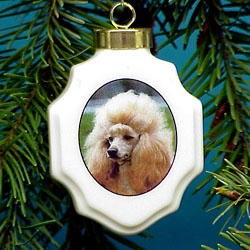 Poodle Christmas Ornament Porcelain