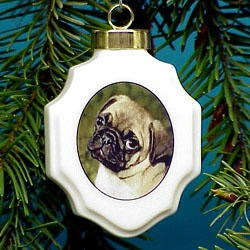 Pug Christmas Ornament Porcelain