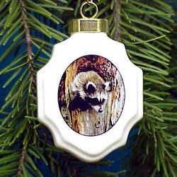 Raccoon Christmas Ornament Porcelain