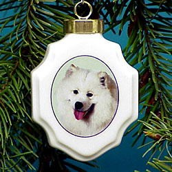 Samoyed Christmas Ornament Porcelain