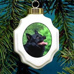 Schipperke Christmas Ornament Porcelain