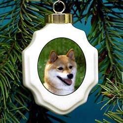 Shiba Inu Christmas Ornament Porcelain