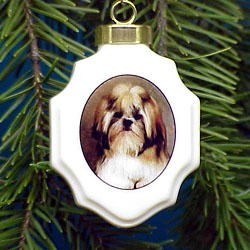 Shih Tzu Christmas Ornament Porcelain