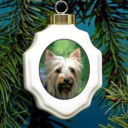 Silky Terrier Christmas Ornament Porcelain
