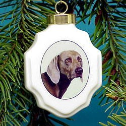 Weimaraner Christmas Ornament Porcelain