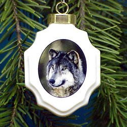 Wolf Christmas Ornament Porcelain