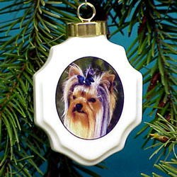 Yorkshire Terrier Christmas Ornament Porcelain
