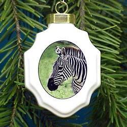 Zebra Christmas Ornament Porcelain