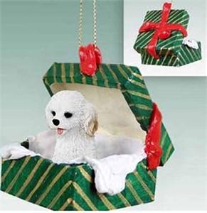 Cockapoo Gift Box Christmas Ornament White
