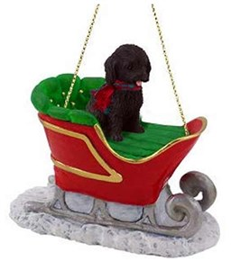 Cockapoo Sleigh Ride Christmas Ornament Black