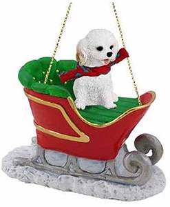 Cockapoo Sleigh Ride Christmas Ornament White