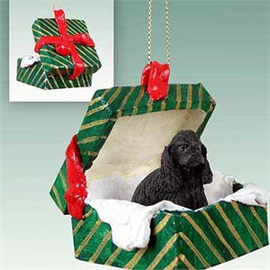 Cocker Spaniel Gift Box Christmas Ornament Black