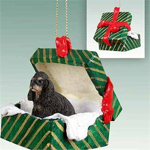 Cocker Spaniel Gift Box Christmas Ornament Black-Tan