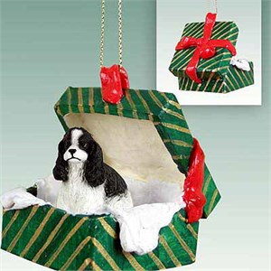 Cocker Spaniel Gift Box Christmas Ornament Black-White