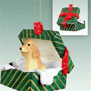 Cocker Spaniel Gift Box Christmas Ornament Blonde