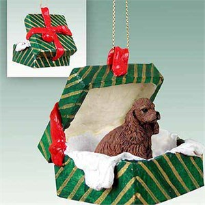 Cocker Spaniel Gift Box Christmas Ornament Brown