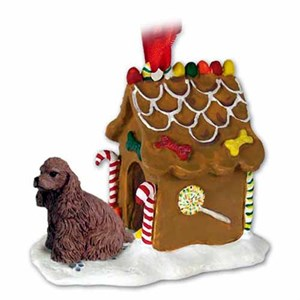 Cocker Spaniel Gingerbread House Christmas Ornament Brown