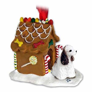Cocker Spaniel Gingerbread House Christmas Ornament Brown-White