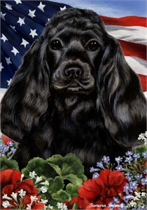 Cocker Spaniel House Flag Black