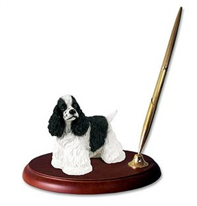 Cocker Spaniel Pen Holder (Black & White)