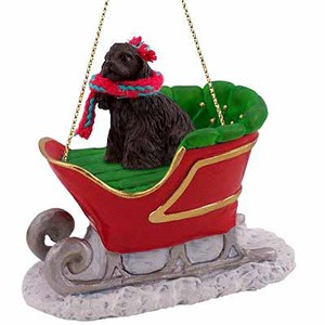 Cocker Spaniel Sleigh Ride Christmas Ornament Black